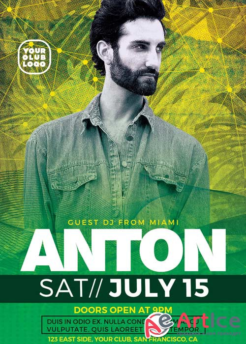 DJ Anton Party V15 Flyer Template