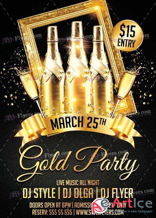Gold Party V20 PSD Flyer Template