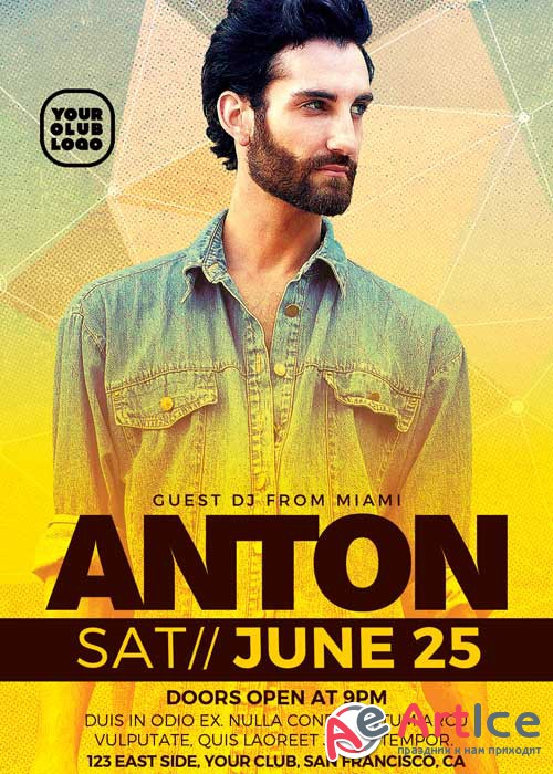 DJ Anton Club Party V3 Flyer Template