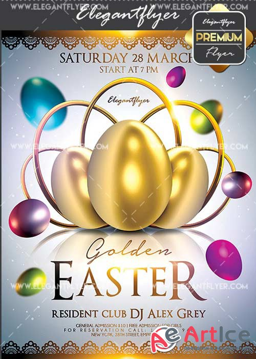 Golden Easter V20 Flyer PSD Template + Facebook Cover