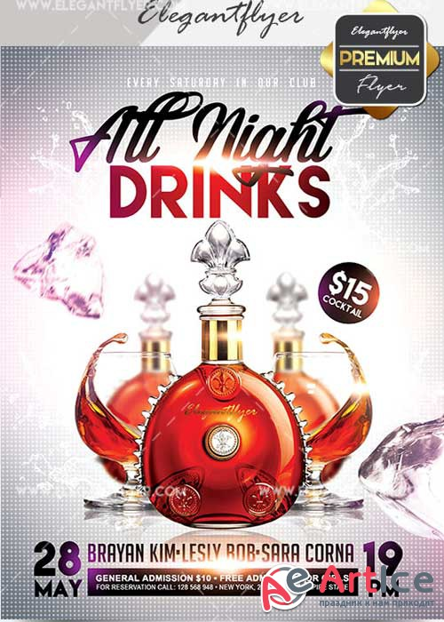 Drinks All Night V28 Flyer PSD Template + Facebook Cover
