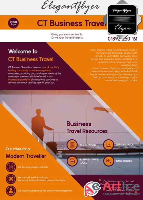 Bussines travel V15 Flyer PSD Template + Facebook Cover