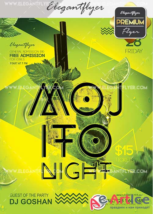 Mojito Night V16 Flyer PSD Template + Facebook Cover