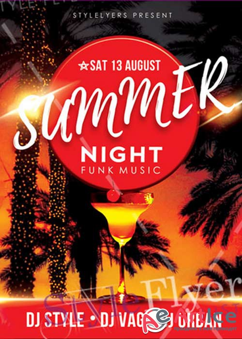 Summer Night Funk Music V21 Flyer PSD