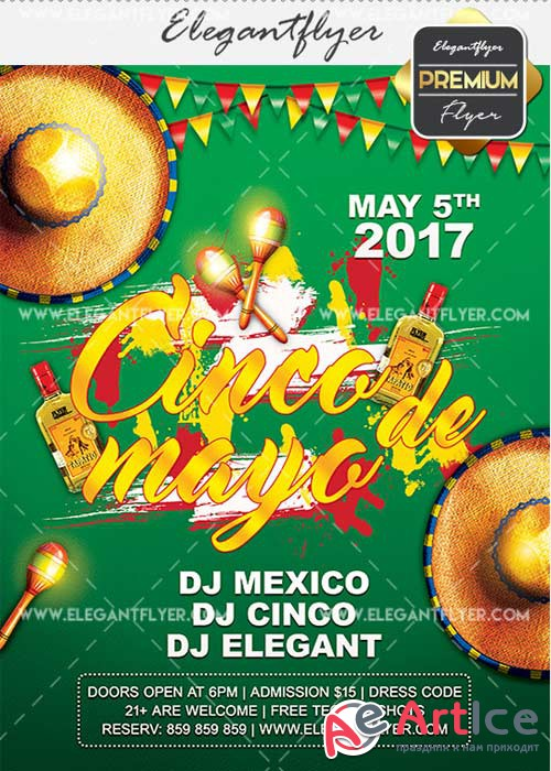 Cinco de Mayo V15 Flyer PSD Template + Facebook Cover