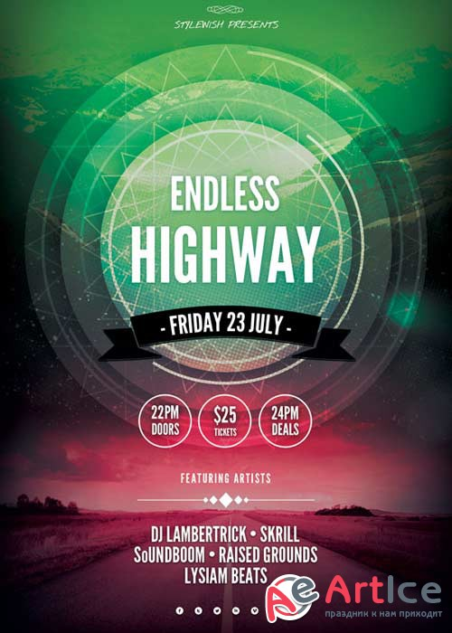 Endless Highway V22 Flyer PSD Template
