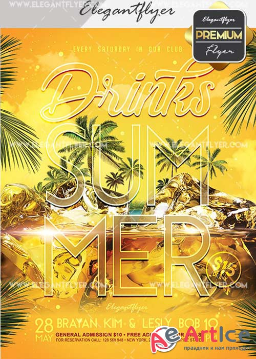 Summer Drinks Flyer PSD V22 Template + Facebook Cover