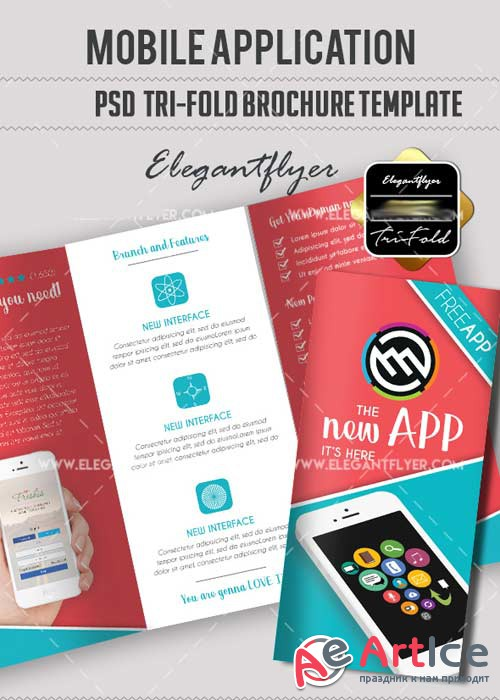 Mobile Application V7 Tri-Fold PSD Brochure Template