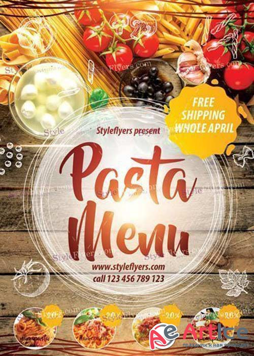 Pasta Menu V29 PSD Flyer Template