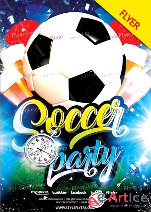 Soccer Party Flyer V22 Psd Template
