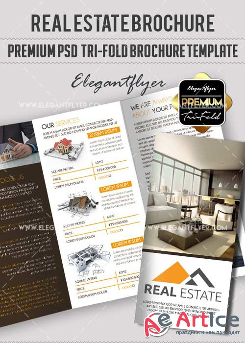 Real Estate V24 Premium Tri-Fold PSD Brochure Template