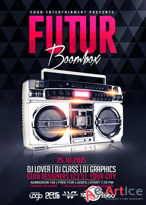 Boombox Future V2 Flyer Template