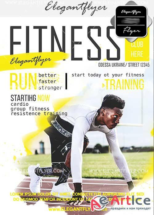 Fitness V39 Flyer PSD Template + Facebook Cover