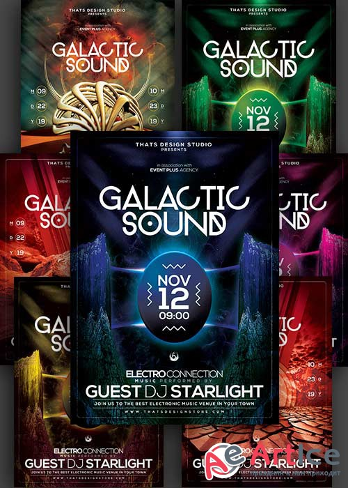 Galactic Sound 3in1 V1 PSD Flyer Template