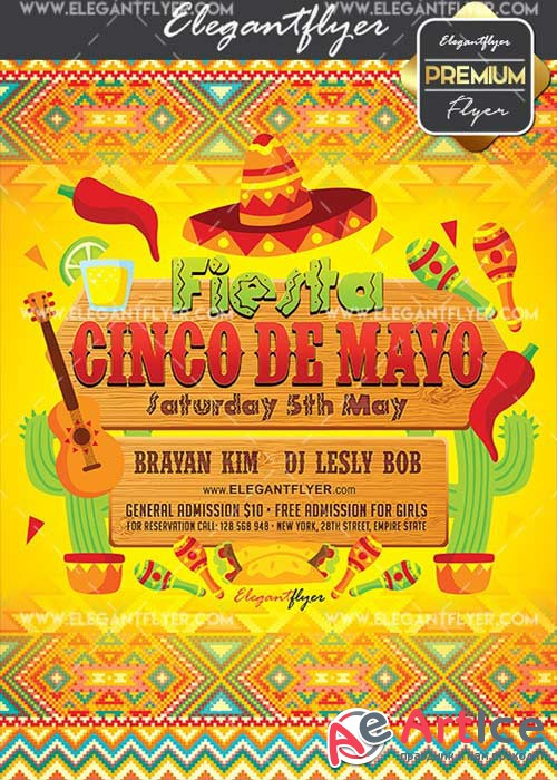 Cinco De Mayo Fiesta V19 Flyer PSD Template + Facebook Cover