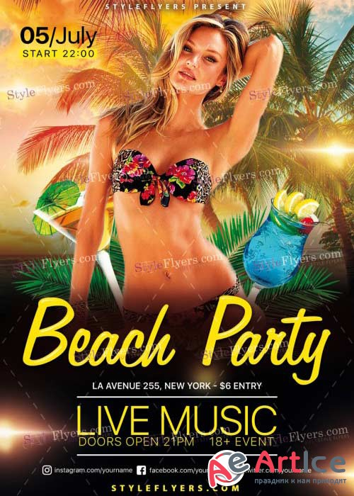 Beach Party V41 PSD Flyer Template