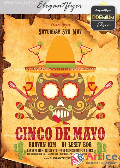 Cinco De Mayo Party V24 Flyer PSD Template + Facebook Cover