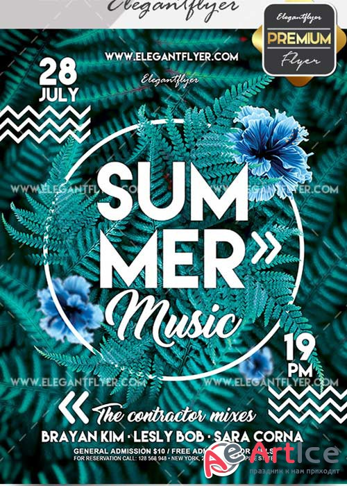 Summer Music V21 Flyer PSD Template + Facebook Cover