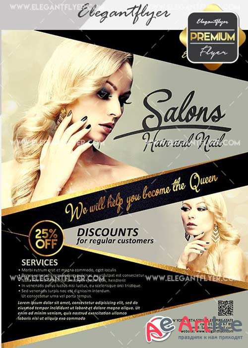 Hair and Nail Salons V12 Flyer PSD Template + Facebook Cover