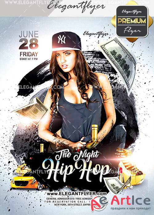 Night Hip Hop V15 Flyer PSD Template + Facebook Cover