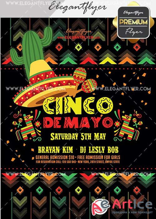 Cinco De Mayo V20 Flyer PSD Template + Facebook Cover