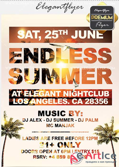 Endless Summer V21 Flyer PSD Template + Facebook Cover