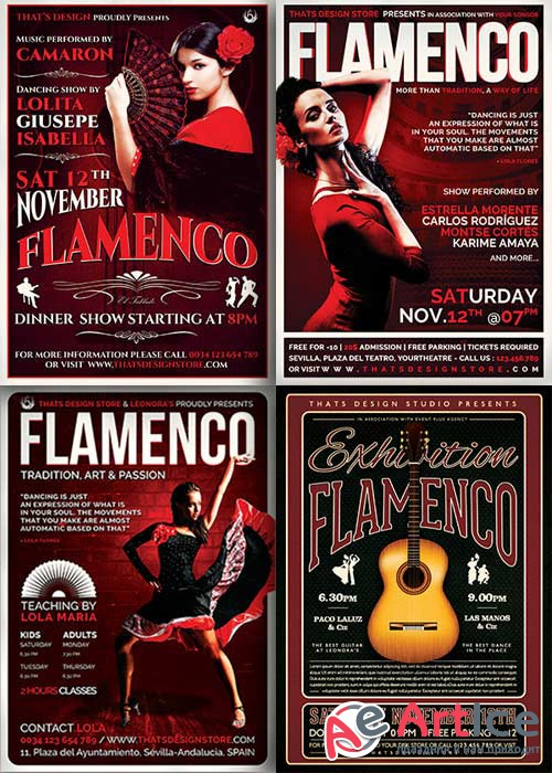Flamenco Party 4in1 V1 Flyer Template