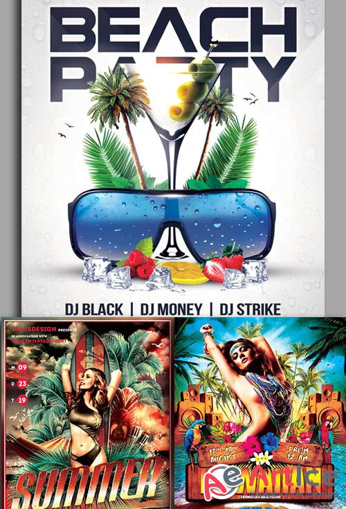 Beach Party 3in1 V1 Flyer Template