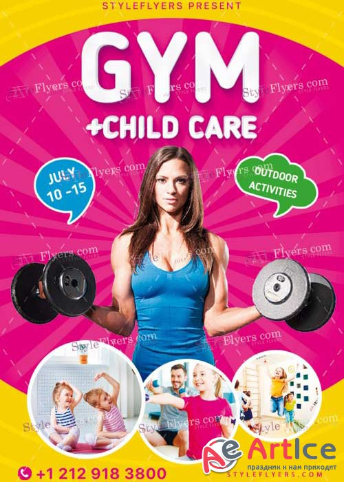 Gym+Child Care V6 PSD Flyer Template