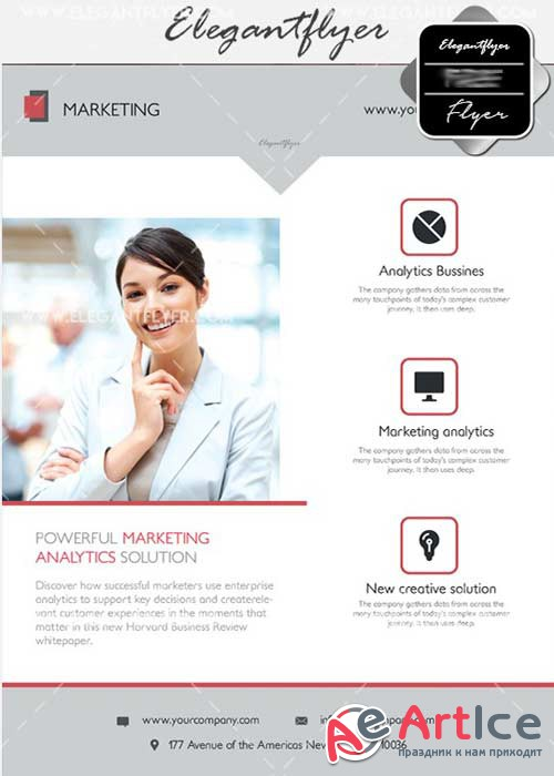 Marketing V17 Flyer PSD Template + Facebook Cover