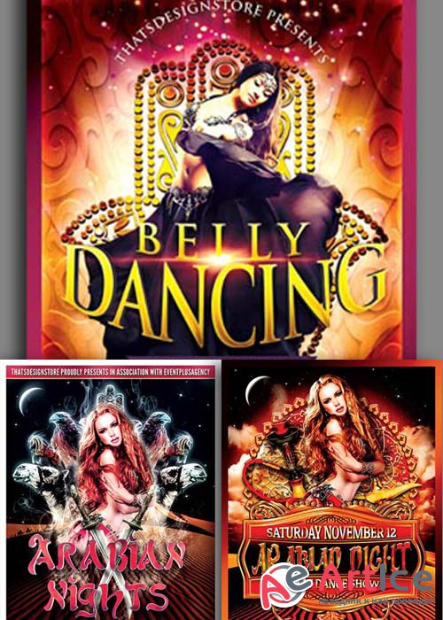 Belly Dancing Party 3in1 V1 Flyer Template