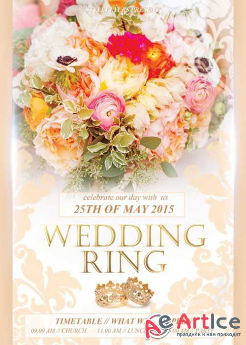 Wedding Ring V11 PSD Flyer Template with Facebook Cover