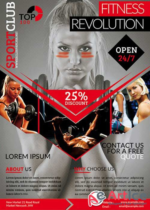 Fitness Revolution V16 Premium Flyer Template + Facebook Cover