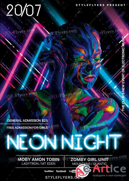 Neon Night V21 PSD Flyer Template