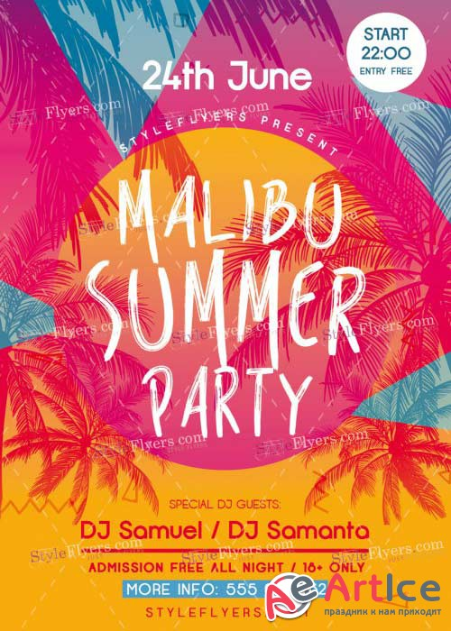 Malibu Summer Party V20 PSD Flyer Template