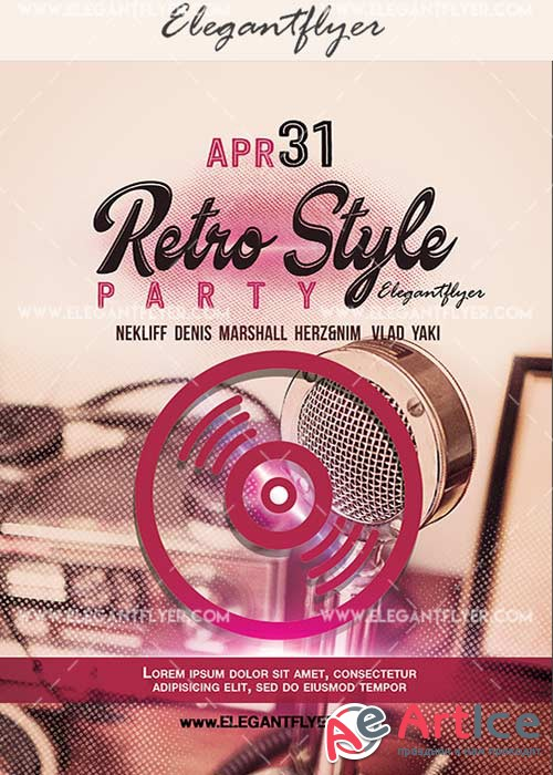 Retro style V23 Flyer PSD Template + Facebook Cover