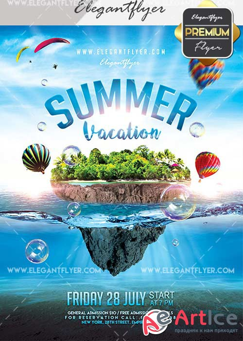 Summer Vacation V21 Flyer PSD Template + Facebook Cover
