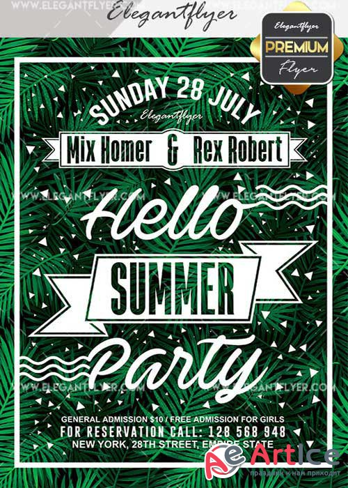 Hello Summer Party V20 Flyer PSD Template + Facebook Cover