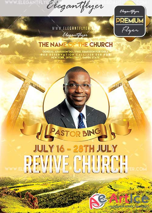 Revive Church V21 Flyer PSD Template + Facebook Cover