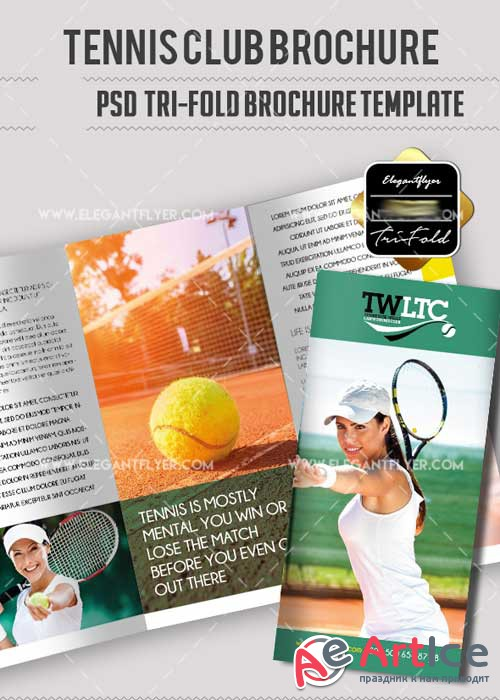 Tennis Club V5 PSD Tri-Fold PSD Brochure Template