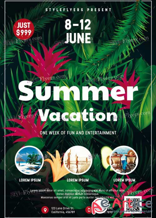 Summer Vacation V25 PSD Flyer Template