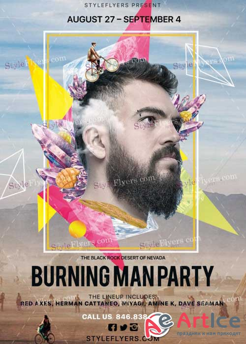 Burning Man Party V2 PSD Flyer Template
