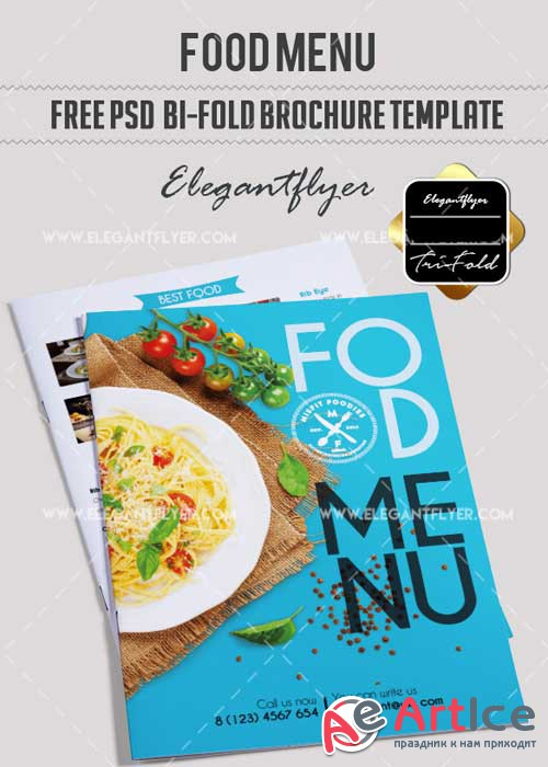Cafe Menu V20 Bi-Fold PSD Brochure Template Food Menu