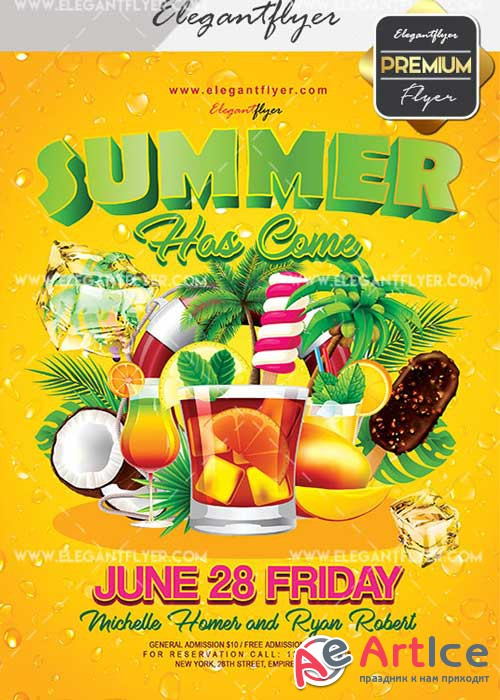 Summer Has Come V1 Flyer PSD Template + Facebook Cover