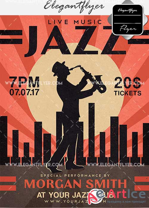 Jazz V18 Flyer PSD Template + Facebook Cover
