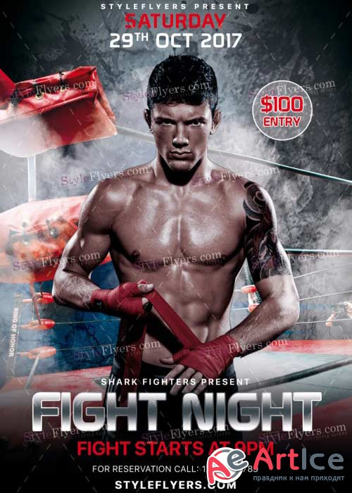 Fight Night V22 PSD Flyer Template