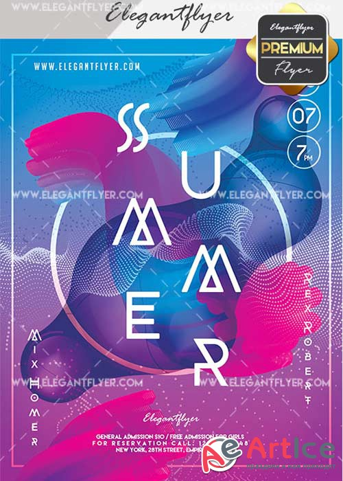 Summer Time V20 Flyer PSD Template + Facebook Cover