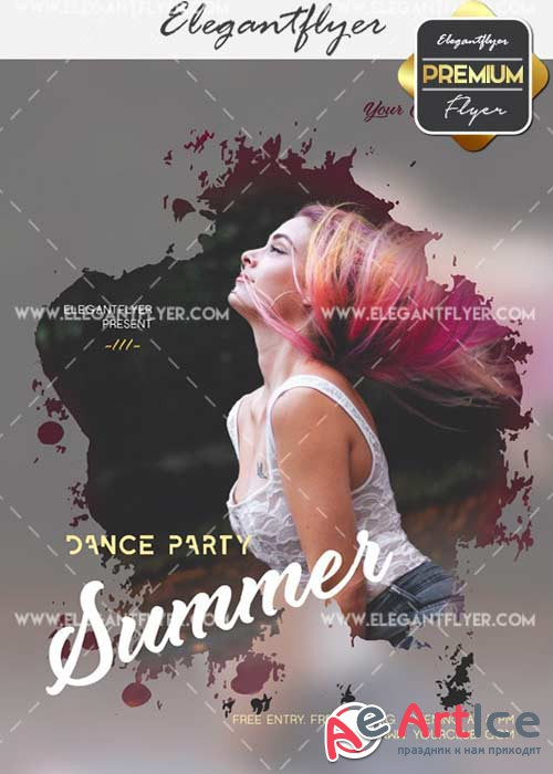 Dance Party Summer V33 Flyer PSD Template + Facebook Cover