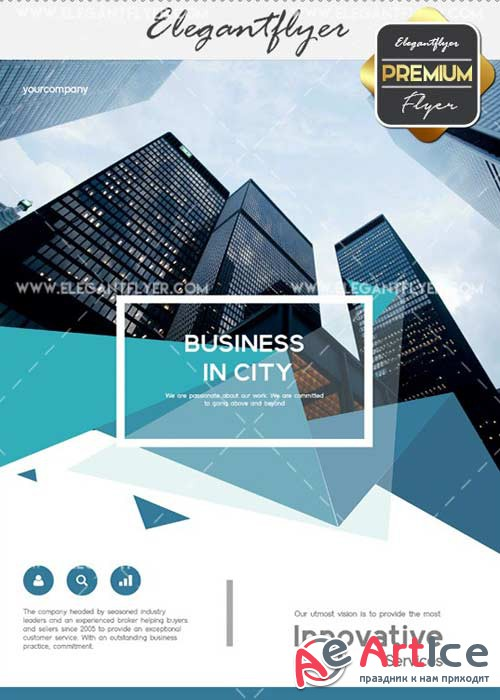 Business in city V2 Flyer PSD Template + Facebook Cover