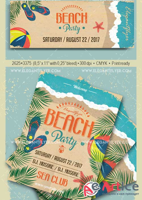 Beach Party V44 Flyer PSD Template + Facebook Cover